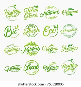 Set of organic, local, fresh, natural, vegan, healthy handwritten lettering logos, labels, emblems. Collection for food market, organic product, healthy life, farmers market. Vector illustration
