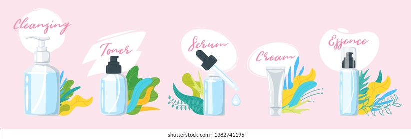 Set of organic natural cosmetic products in bottles. Items for base daily care for healthy skin - cleansing, toner, cream. Vector illustration isolated on pink background. Floral leaves decorations.