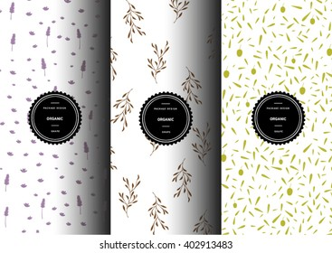 Set of organic patterns for background and stickers with logos. Lavender. Olive. Branch. Vector packaging design elements and templates.
