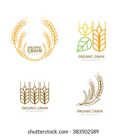 Set of organic wheat grain outline icons. Vector logo design elements. Cereals linear illustration. Concept for organic products label, harvest and farming, grain, bakery, healthy food.