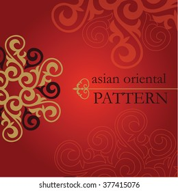 Set of Oriental and Asian patterns. Asian floral motifs for use in a variety of media design.