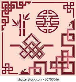 Set of Oriental Design Elements (border, corner, knot, bamboo)