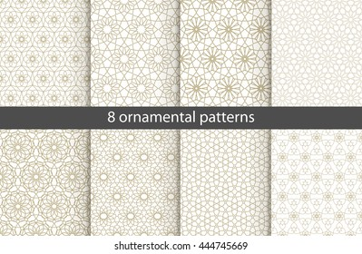 Set of ?ight oriental patterns. White and gold background with Arabic ornaments. Patterns, backgrounds and wallpapers for your design. Textile ornament. Vector illustration.