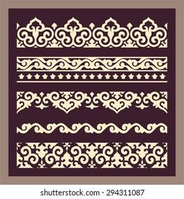 Set of oriental style decorative seamless border patterns