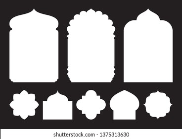 Set of oriental style windows and arches