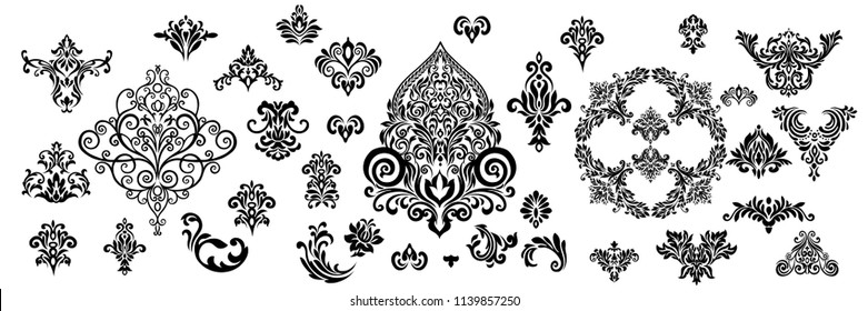 Set of Oriental vector damask patterns for greeting cards and wedding invitations.