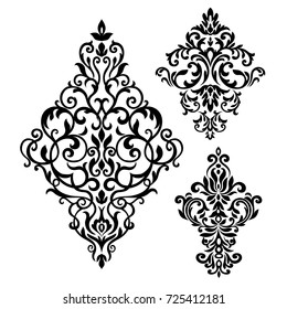 Set of Oriental vector damask patterns for greeting cards and wedding invitations