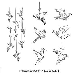 set of origami birds, vector sketch