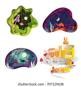 set of origami. desert and camels, tropics and flamingos, space and rocket, urban panorama. slice of paper, vector
