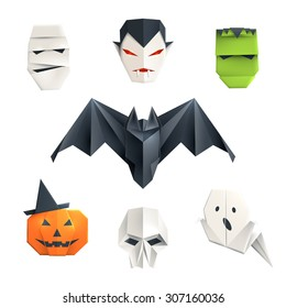 Set of origami Halloween characters: mummy, vampire, zombie, bat, pumpkin, skull and ghost. Isolated on white vector illustration, eps10.