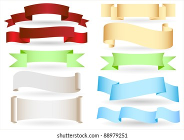 Set of origami ribbons and banners.Vector text box.