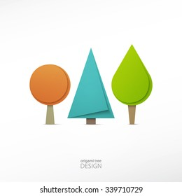 set of origami style tree icons isolated on white background. vector cartoon trees. ecology concept graphic design