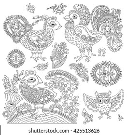 set of original black and white line art rooster drawing, page of coloring book bird joy to older children and adult colorists, who like line art and creation, vector illustration