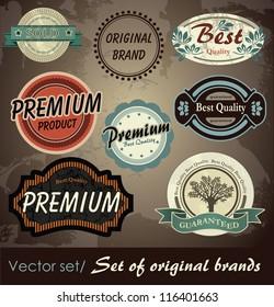 Set of original branded labels