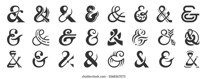 Set of original decoration ampersands for letters and invitation. Great vector design set for wedding invitations, save the date cards and other stationary.