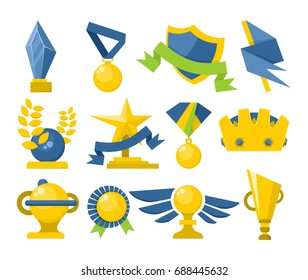 Set of original flat icons sports awards achievements and trophy