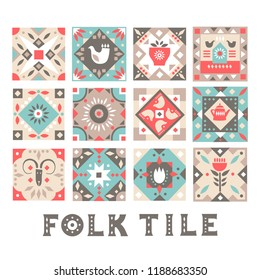 Set of original flat square tiles with folk rustic patterns. For Christmas design.
