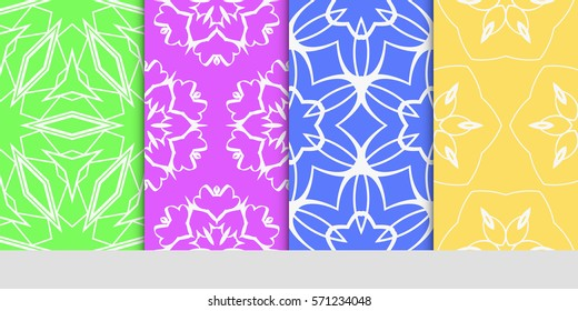 set of original floral, linear geometric patterns. modern ornament. vector illustration for design wedding invitation, background, wallpaper