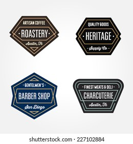 Set of original retro badge geometric logo design templates with vintage feeling and harmonious color schemes for a wide variety of businesses