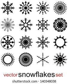 Set of original snowflakes. Vector