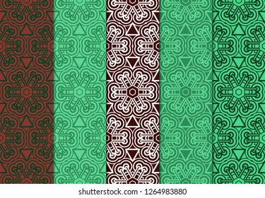 Set of Ornament With Geometric Colorful Pattern. For Print On Fabric, Papper, Design. Vector Illustration. Seamless.