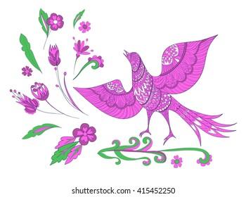 Set of ornamental bird and fantasy flowers. Vector illustration hand drawn. Floral set.
