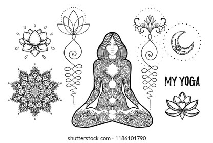 Set of Ornamental Boho Chic Style Elements. Vector Budda illustration. Tattoo template. Hand drawn tribal esoteric symbol collection. Hippie design elements. Coloring book for adults.