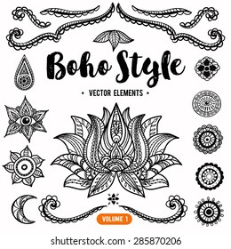 Set of Ornamental Boho Style Elements. Vector Drawing. Anti stress colouring elements