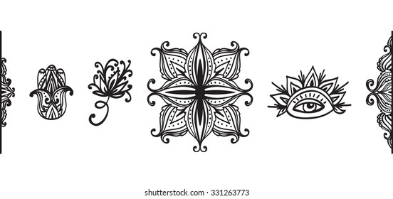 Set of ornamental decorative elements for yoga studio in vector. Yoga vector logotype template.
