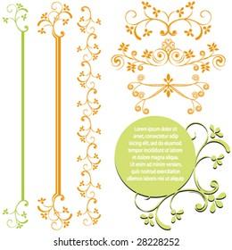 Set of ornamental design elements.