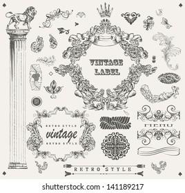 Set of ornamental design elements vintage