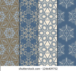 Set Of Ornamental Design. Modern Seamless Geometry Pattern. Vector Illustration. For Interior Design, Printing, Web And Textile Design