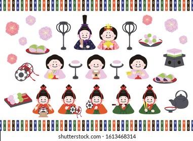 a set of ornamental dolls for Japanese Girls' Festival
