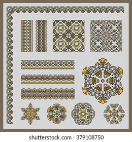 Set of ornamental elements. For design. Each fragment can be replicated. Can be used for gift packaging, napkins, letterheads, postcards, greetings