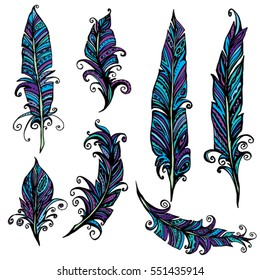 Set of ornamental Feather, tribal design. Ink hand drawn illustration with different indian feathers in blue and violet colors.