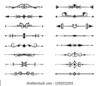 Set of ornamental filigree flourishes and thin dividers. Classical vintage elements, vector illustration