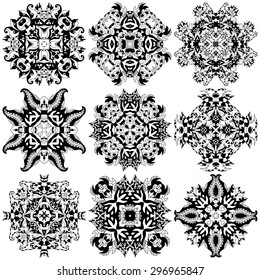 Set of ornamental floral pattern. Henna mehndi design elements. Hand drawn mandalas. Orient traditional background. Lace circular ornaments.  Ethnic, Indian, Islamic, Asian, ottoman, Arabic motifs.
