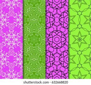 set of Ornamental flower design. Modern seamless geometry pattern. Vector illustration. For the interior design, printing, web and textile design.