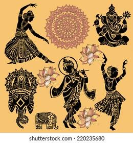 Set of ornamental Indian elements and symbols.Ganesha.Indian woman. Elephant, mask