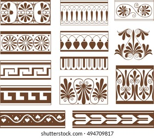 Set of ornamental pattern elements in Etruscan style - floral and geometrical horizontal vignettes and pinstripes
