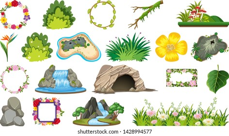 Set of ornamental plants illustration