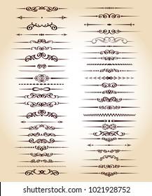 Set ornamental rule lines in different design.Vintage  style.
