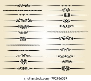 Set ornamental rule lines in different design.Vintage  style.