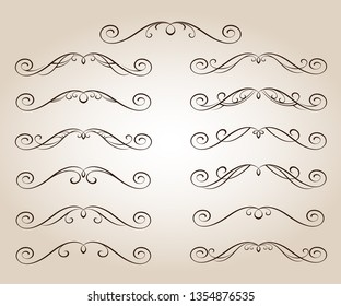 Set ornamental scroll rule lines in different design.Vintage style.