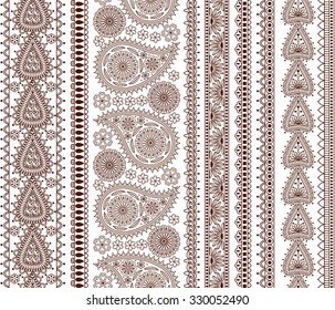 Set of Ornamental Seamless Borders in indian style. Good for decor, henna tattoo, etc.