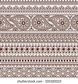 Set of Ornamental Seamless Borders in indian style. Paisley, flower motifs. Good for decor, frames, henna tattoo, etc.