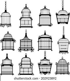 set of ornamental vintage birdcage vector eps10