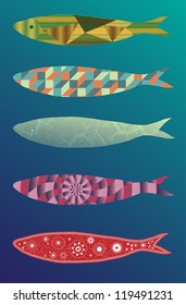 A set of ornamented and beautiful illustration (vector) of sardines