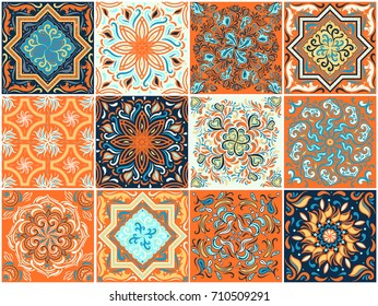 A set of ornaments for ceramic tiles. Abstract pattern. Wallpaper, decorative borders, poster, greeting, decoration on textile.