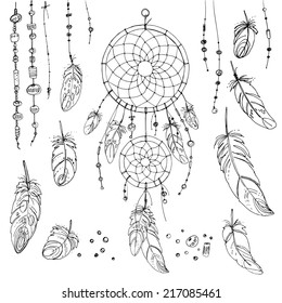 Set of ornaments, feathers and beads. Native american indian dream catcher, traditional symbol
